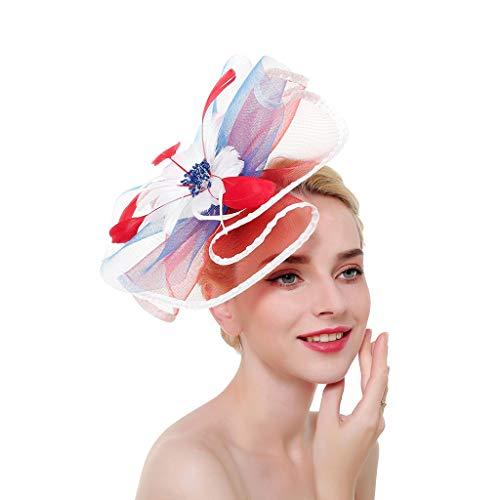 Damen Derby Tea Party Fascinator Hut Große Rüschen Blume Feder Perlen Hochzeit Brautschmuck Kontrast Farbe US Flagge Kopfbedeckung Clip
