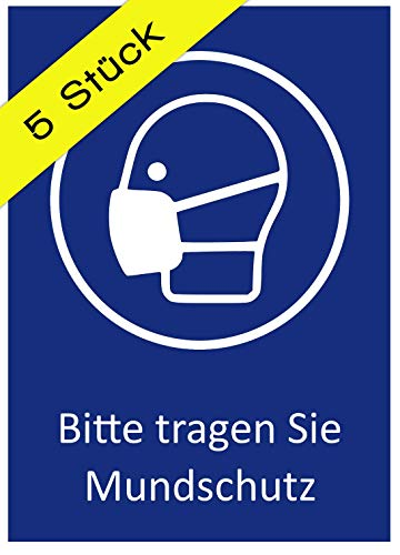 5 Aufkleber Bitte Mundschutz tragen Gesichtsmaske Hinweis Schild zur Maskenpflicht DIN A6 FFP2-Maske (10,5 x 14,8 cm) (Schutzmaske)