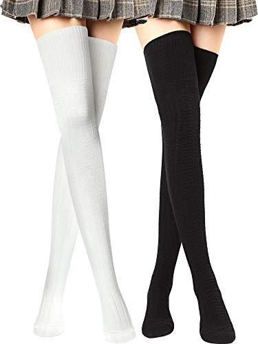 Frauen Oberschenkel Hohe Socken über Kniestrümpfen Baumwolle Lange Stiefel Socken Beinlinge (Schwarz, Weiß, 2 Paare)
