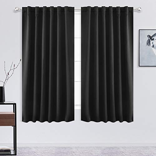 FLOWEROOM Blackout Curtains for Bedroom - Thermal Insulated Back Tab and Rod Pocket Curtains,Darkening Window Treatment Draperies, Black, 2 Panels, W52 x L45 inch(132x114cm)