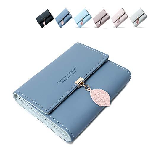 Geldbeutel Damen aus glattem und weichem Kunstleder Geldbörse Damen klein und im Kurzformat Portemonnaie Damen in sehr schönen Farben mit vielen Fächern (Blau)