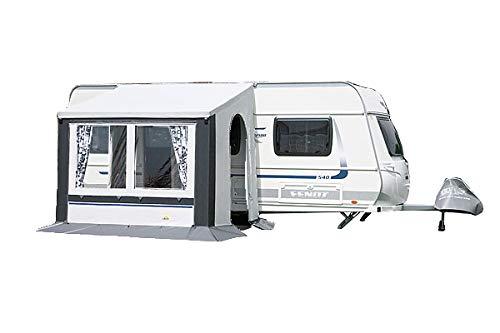 dwt Vorzelt Cortina II Blau o.Grau Teilzelt Caravan Ganzjahrescamping Winterzelt in 6 Größen Wohnwagen Dauerstandzelt, Größenauswahl:Gr. 3 grau