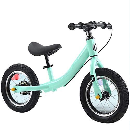 YUMEIGE Bicicletas sin Pedales Bicicletas sin Pedales,con Freno de Mano,Bicicleta de Equilibrio para niños-Asiento de Altura Ajustable,Asiento Ajustable Negro, Verde, Rosa, Plateado (Color : Green)