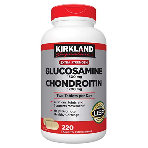 Kirkland Signature Glucosamine HCI 1500mg Chondroitin Sulfate 1200mg 220 Tablets/New Increased Count, (Pack of 2) by Kirkland Signature