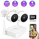 Full HD 1080P Wireless Security Camera System with Two-Way Audio, Wandwoo 4CH NVR with 2 Outdoor Indoor Camera CCTV Systems,32GB SD Card,Motion Detection