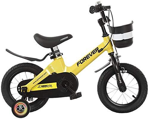 Miwaimao Bicicleta infantil para niños de 3 a 6 – 7 – 10 años de edad, bicicleta para exteriores 12/14/16 pulgadas (color rosa, tamaño, 14 pulgadas), amarillo, 12 pulgadas