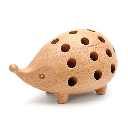 Yilong Wood Creative Small Hedgehog Magic Pencil Holder with Pencil (Set of 24),Good Gift for Your Family or friends