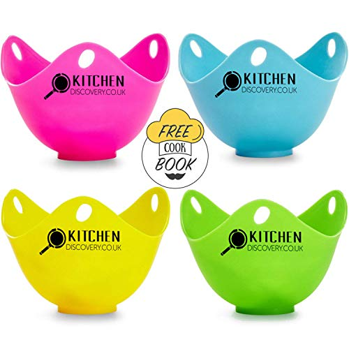 KITCHEN DISCOVERY Egg Poacher Cups (4 Pack) With Base Ring for Poached Eggs - PREMIUM Grade LFGB Silicone Egg Poacher, BPA-Free Multi Coloured Easy Release Egg Poach Pods, Egg Poacher Pan, Egg Cooker, Poached Egg Maker Set, Microwave Egg Poachers Mold, Egg Poaching Bags, Egg Cups, Microwave Eggs, Poaching Pan, Egg Boiler, Gift, Present