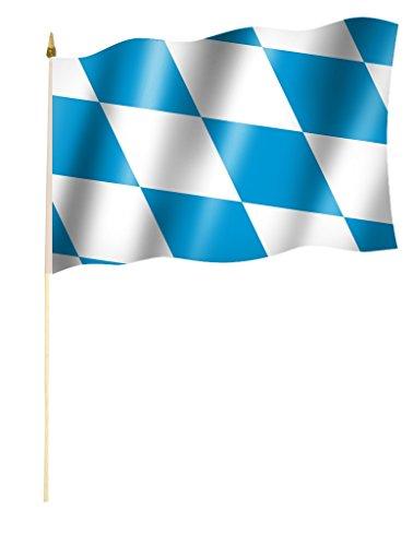 Sportfanshop24 Stockflagge/Stockfahne Bayern, Rauten blau - weiß, Oktoberfest Flagge/Fahne ca. 30 x 45 cm mit ca. 60cm Stab/Stock