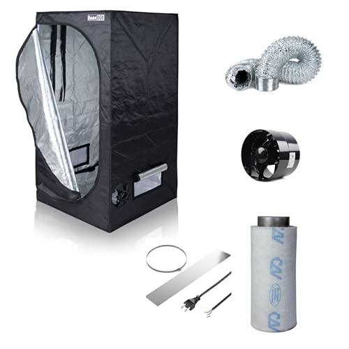 NICEGROW.de Box Set Zelt mit Abluft Growbox Growzelt 80 Rohrventilator 243cbm/h inkl. Filter