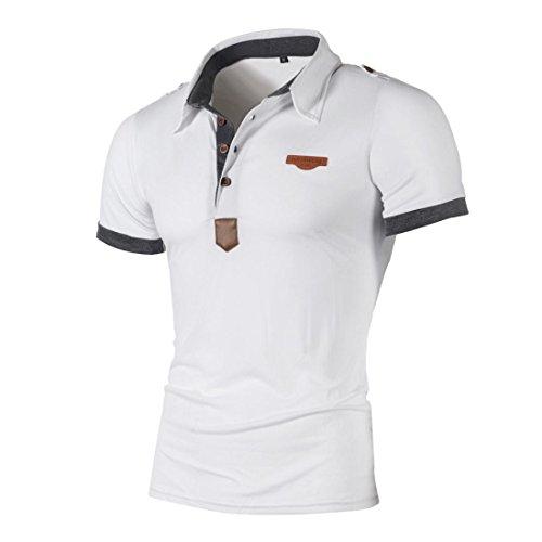 T-Shirts,Honestyi 2018 Neueste Modell Herren Poloshirt Kurzarm Klassisches Basic T-Shir hochwertigem Single Jersey Stoff Sweatshirt Kurzarmshirt blusen Tops Streetwear M-XXL (XXL, Weiß)