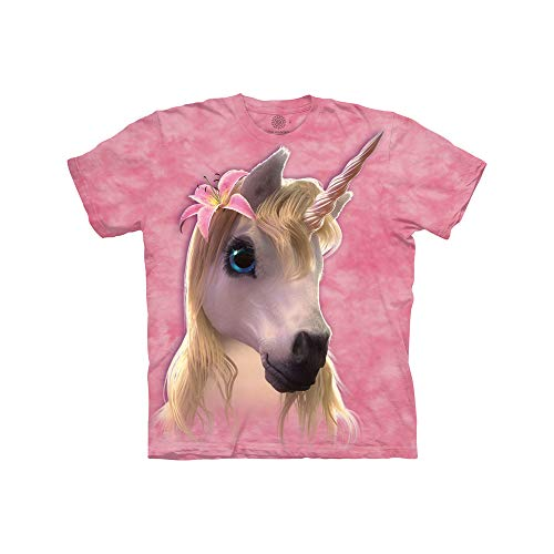 The Mountain Kinder Cutie Pie Unicorn Tee T-Shirt, Pink, L