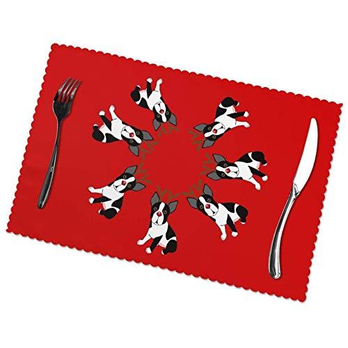 Place Mats Table Mat Boston Terrier Reindeer Set of 6 pcs Placemat 30X45CM