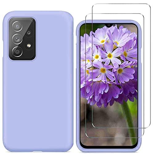 N\C YiKaDa - Funda Compatible con Samsung Galaxy A52 4G / 5G + [2 Unidades] Cristal Templado Protector de Pantalla, Cáscara Suave de Silicona TPU Líquida - Púrpura