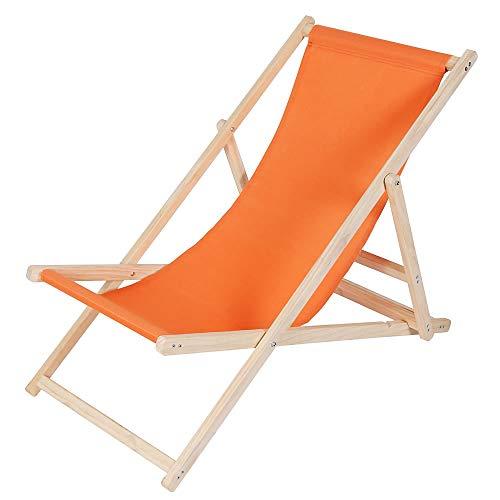 Melko Liegestuhl klappbar Strandstuhl aus Holz Holzliege Garten Faltliege Orange Gartenliege