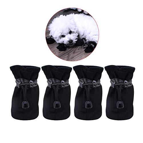 YAODHAOD Hundestiefel Paw Protector, rutschfeste Hundeschuhe , Diese bequemen Hundeschuhe mit weichen Sohlen sind mit reflektierenden Trägern für kleine Hunde ausgestattet (2, Schwarz)