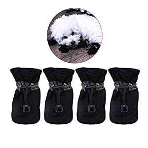YAODHAOD Dog Boots Paw Protector, Anti-Slip Dog Shoes,These Comfortable Soft-Soled Dog Shoes are with Reflective Straps, for Small Dog (2, Black)