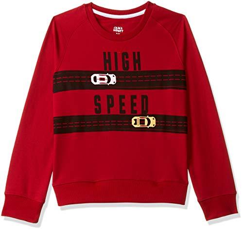 Amazon Brand - Jam & Honey Boy's Lightweight All Weather Sweatshirt Cotton (JHAW19BSWT934_RED_3-4 Years)