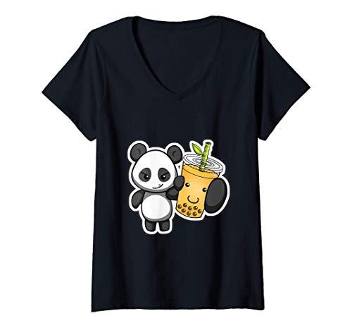 Damen Panda Bear Bubble Boba Tea Woke Kawaii Anime Chinese Zodiac T-Shirt mit V-Ausschnitt