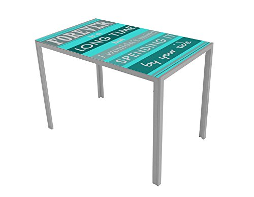 13Casa - Dahl D1 - Tavolo. Dim: 105x60x75 h cm. Col: Azzurro, Fantasia. Mat: Vetro.