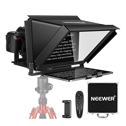Neewer X12 Teleprompter Gobbo Suggeritore Elettronico per Smartphone iPad Tablet Reflex Digitali con Telecomando, Compatibile con ISO Android per Insegnamento Online Vlogger Streaming