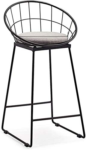 PIAOLING High Stools Industrial Metal Bar Stool Sponge Seat Dining Chair with Backrest & Footrest Bar Counter Chair for Pub Café Breakfast and Kitchen Home Max. Load 200kg Black
