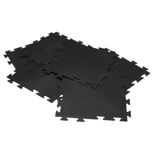 Rubber-Cal 'Armor-Lock (Fitness) Interlocking Rubber Tiles - 3/8 x 20 x 20 inch - Pack of 16 Solid Rubber Tiles, 44 Square Feet Coverage - Black Rubber Mats