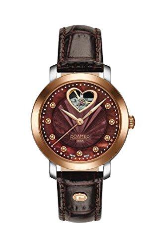Roamer Reloj automático con Esfera Madre Perla analógica y Correa de Cuero marrón 556661 49 69 05