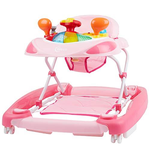 Bieco Baby Lauflernhilfe | 3in1 | Gehfrei baby ab 6 Monaten | Baby-Walker | Spielcenter mit Aktivität&Melodien | Rosa | kippsicher | höhenverstellbar | Schaukelfunktion