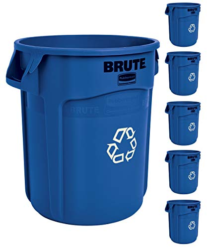 Rubbermaid Commercial Products BRUTE Heavy-Duty Round Trash/Garbage Can with Venting Channels - 20...