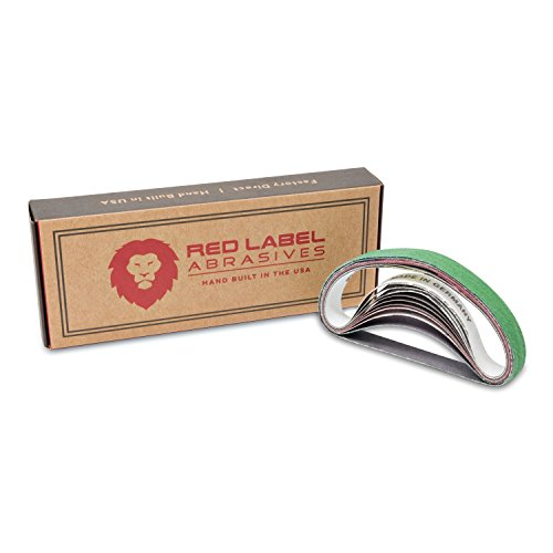 Red Label Abrasives 1/2 X 10 Inch Coarse P80 Grit/Medium P320 Grit/Fine P800 Grit/Ultra Fine P5000 Grit Knife Sharpener Sanding Belts, 10 Pack (Fits Work Sharp WSCMB Combo Knife Sharpener)