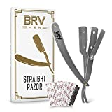 BRV MEN Straight Razor - 100 Lord Platinum Single Edge Razor Blades - Straight Edge Razor - All...
