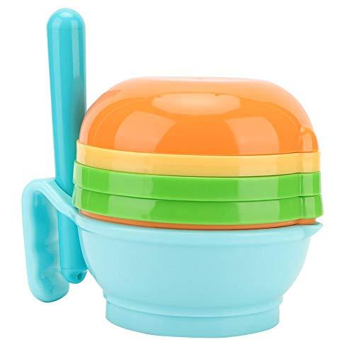 9pcs/set fabricante de alimentos para bebés, puré y sirva el tazón de molienda para bebés, procesador de suplementos de alimentos para bebés(Azul)
