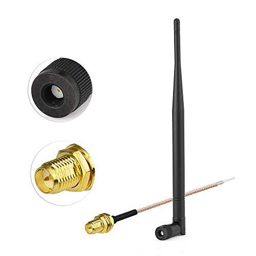 Eightwood 868 MHz Antenne Kipp-und-Schwenkbar NFC RFID Antenne RP-SMA Stecker + RP-SMA Buchse Pigtail Kabel RG178 15cm 6inch für GSM Wireless WiFi Homematic CCU3 CCU2 CC1101 Ham Radio MEHRWEG