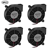 4PCS 5015 Brushless Cooling Fan 3D Printer Blower DC Fans 12V 50x50x15mm Fan for Hotend Extruder Heat Sinks with 2 Pin Terminal and Other Small Appliances Series Repair Replacement(12V 0.18A)