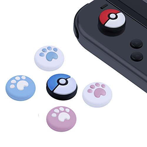 ABAZAR Silicone Thumb Grip Stick Caps for Nintendo Switch Joy-Con Controllers & Switch Lite Console 2019,[4 Pack Cat Paw + 2 Pack Pokeball Set Style], Anti-Slip, Joystick Analog Cover, Multi -colour
