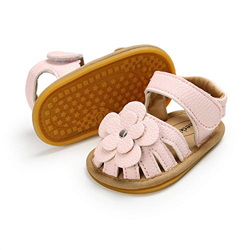 Meckior Baby Toddler Infant Girls PU Leather Soft Closed Toe Summer Sandals Flower Princess Flat Shoes