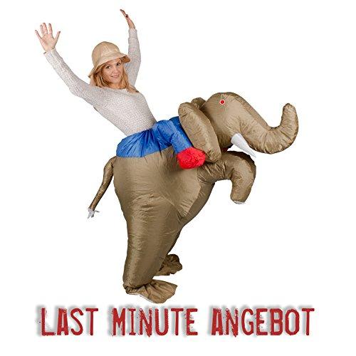 GARDENho.me Aufblasbares Kostüm Elefant Dumbo Reiter Karneval Fasching