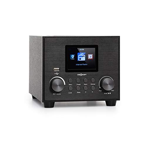 """oneConcept Streamo Cube Internetradio, Radioempfang per WLAN, Lautsprecher 3W & Subwoofer 5W RMS, Bluetooth, Anschlüsse: USB, AUX-IN, Kopfhörer, 2,8\"""" HCC Display, schwarz"""