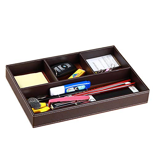 Price comparison product image YAPISHI Drawer Organizer Mens Nightstand Valet Trays,  PU Leather Desk Supply Organizer 4 Compartments Desktop Storage Box for Office Stationery / Business Card / Keys / Watches / Coins / Jewelry / Phone (Brown)