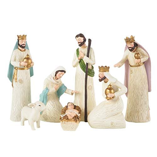 Born in Bethlehem Nativity Set - Nativity Sets for Christmas Indoor - Manger Scene Christmas Decorations - Christmas Nativity Set - Baby Jesus Nativity - Holy Family Nativity Scene - (7 PC Set)