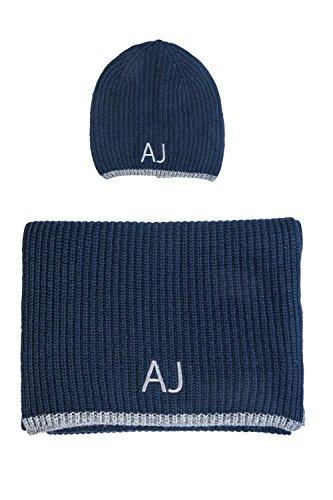 ARMANI JEANS AJ NEU HERREN Mütze mit Schal blau schwarz grau men scarf Halstuch Tuch Hut Blau Navy/Grau M (56-57)