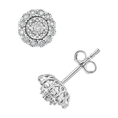 1/10 Carat Diamond, Prong-Set Sterling Silver White Round Diamond Miracle Cluster Halo Stud Earring (I-J, I2-I3) by La4ve Diamonds   Real Diamond Stud Earrings For Women   Gift Box Included