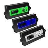 ZHITING 3pcs Medidor de Capacidad de Batería 12V 24V 36V 48V Voltímetro Monitor Battery Indicator con Pantalla LCD a Color