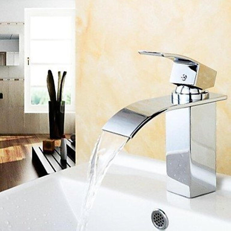 SEBAS Home Waschtischarmatur Wasserhahn Wasserhahn Modernes Design Wasserfall Messing Hochwertiger Wasserhahn (Chrom-Finish) Wasserhahn Becken Mischbatterie