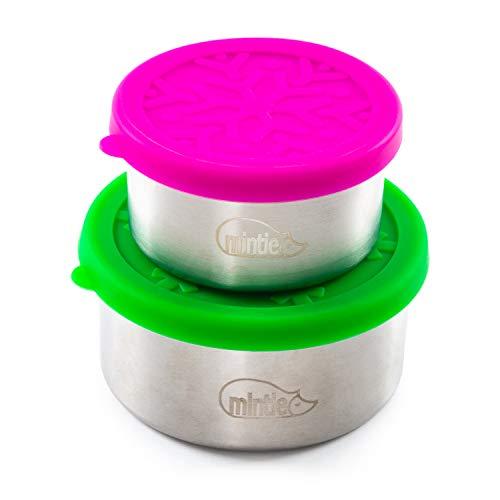 Mintie Juego de macetas Midi a prueba de fugas, reutilizable, de acero inoxidable, sin plástico, con tapas de silicona sin BPA, perfecto para niños, bebés, destete, almuerzo, camping