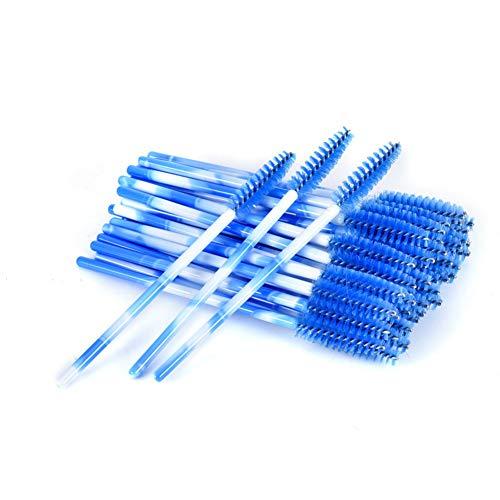 Xiton 50PCS / PACK Mascara Jetable Multicolore Baguette Mascara Brosses Baguettes Extensions de Cils Applicateur Maquillage Pinceaux Kits Pour Usage Personnel Ou Salon(Bleu)