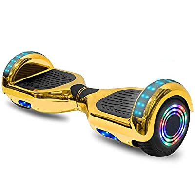 "cho 6.5"" inch Hoverboard Electric Smart Self Balancing Scooter with Built-in Wireless Speaker LED Wheels and Side Lights Safety Certified (Chrome Gold)"