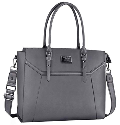 MOSISO 16 inch Women Laptop Tote Bag with Shockproof Compartment, Gray