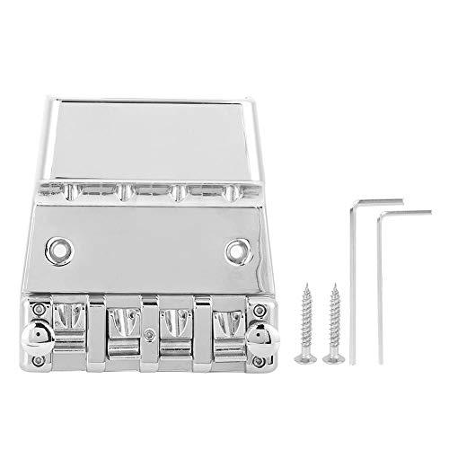 4-saitige E-Bass-Brücke Verstellbarer Bass-Saitenhalter mit Schrauben und Schraubenschlüssel für 4-saitigen E-Bass